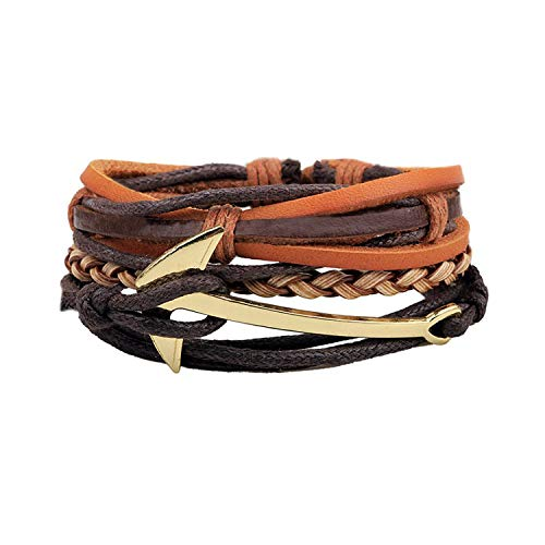 AIGE-Store Anchor Layered Bracelet for Men Women Adjustable Wax Rope Woven Cuff Bracelet Leather(3 pcs)