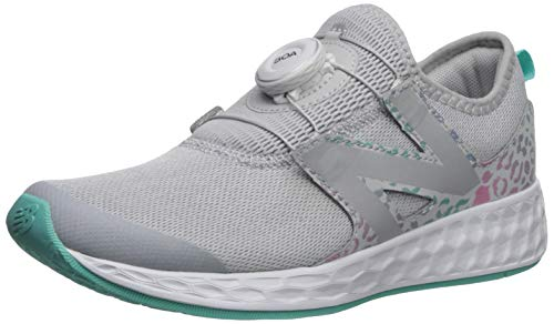 New Balance Girls' N Speed V1 Running Shoe, Light Aluminum/Tidepool, 2 W US Little Kid