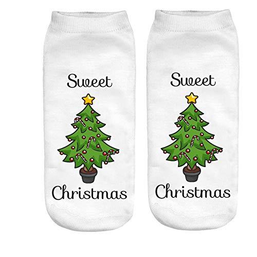HYIRI ✈ Xmas Christmas lovely Amazing Cartoon Socks, Women's 3D Funny Christmas Crazy Cute Print Ankle Socks