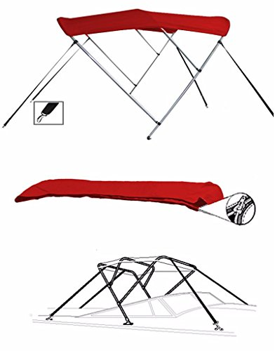 7oz RED 3 Bow Round Tube Boat Bimini TOP Sunshade for SEA RAY 210 SUNDECK W/O EXTD SWPF 1998-2001 (Sea Ray 210 Sundeck)