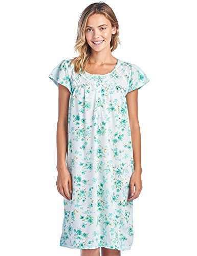 Casual Nights Women's Fancy Lace Flower Short Sleeve Nightgown - Mint - Medium