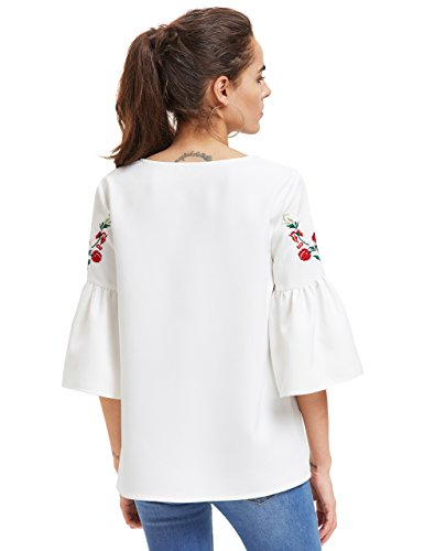 82fa39fca55937 Floerns Women s Floral Embroidery Loose Blouse Bell Sleeve Top ...