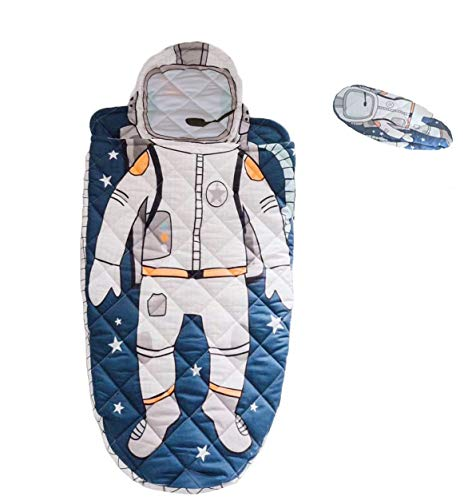 YAYIDAY Sleeping Bag Kids Toddler Nursery 100% Cotton Quilted Slumber Bag Blue Nap Mat Blanket Soft Warm Boy Spaceman Printed Sleep Sack for Travel Sleepovers