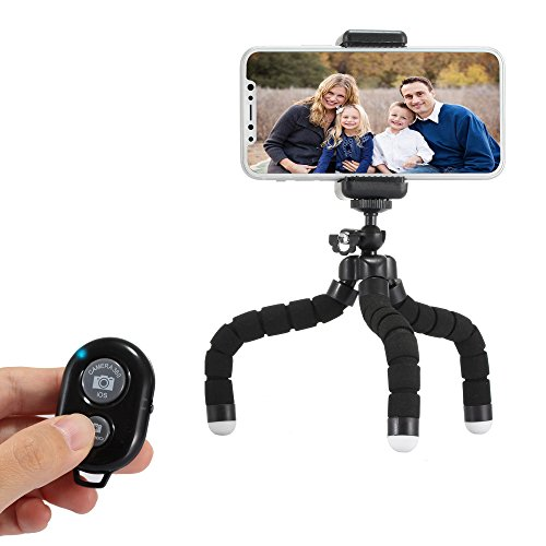 SENTLY Phone Tripod, Camera Tripod, Portable and Flexible Cell Phone Tripod with Wireless Remote Shutter and Universal Clip for iPhone, Android Phone, Cell Phone, Camera