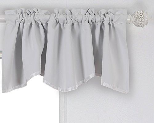 Deconovo Solid Color Short Curtains Scalloped Valance Rod Pocket Valances Blackout Valance for Living Room 42 X 18 Inch Greyish White 1 Drape