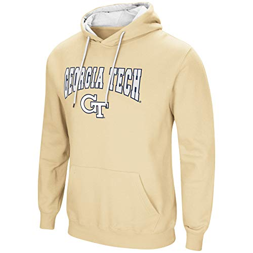 (Colosseum NCAA Men's-Cold Streak-Hoody Pullover Sweatshirt with Tackle Twill-Georgia Tech Yellow Jackets-Old Gold-XL)