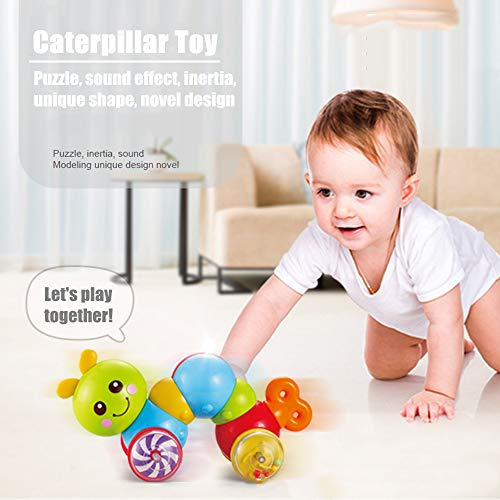 Caterpillar Push Toy Rattle Brings Joy to Children Toys Baby Newborn Boys Girls Best Gift Children's Pressure Crawling Exercise Puzzle Baby Infant Kids Toddler Guide Learning Climbing Green