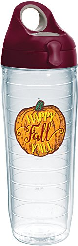 Tervis 1234375 Happy Fall Y'all Tumbler with Emblem and Maroon Lid 24oz Water Bottle, Clear]()