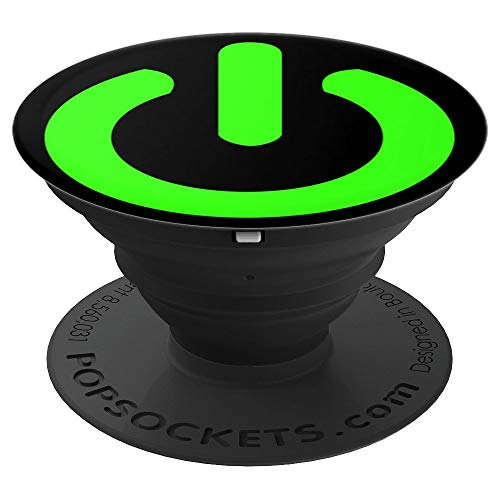 - Press Start Power Button Vintage Retro Video Game Green - PopSockets Grip and Stand for Phones and Tablets