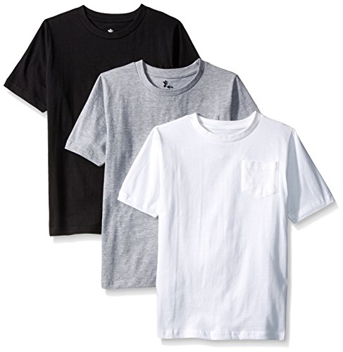 American Hawk Big Boys 3 Piece Pack Crew Neck Pocket T-Shirt, White/Black/Heather Grey, 10/12