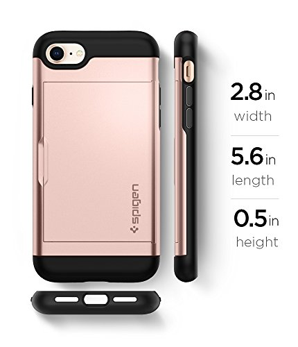 Spigen Slim Armor CS iPhone 7 Case / iPhone 8 Case with Slim Dual Layer Wallet Design and Card Slot Holder for Apple iPhone 7 (2016) / iPhone 8 (2017) - Rose Gold