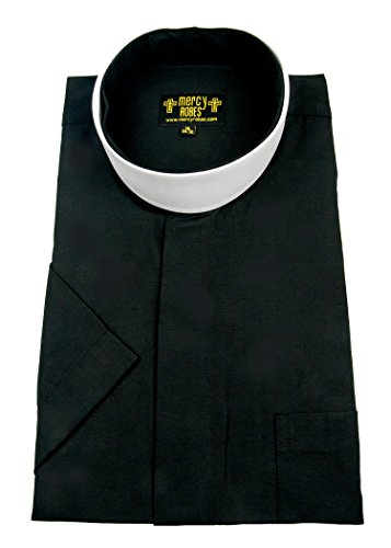 Neckband Collar - Mercy Robes Mens Black Short Sleeves Full Neckband Collar Clergy Shirt (18.5