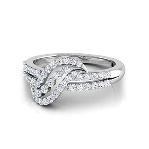14K Or blanc, 0,49carat Diamant Taille ronde (IJ | SI) en diamant