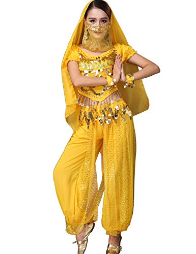 Astage Lady Belly Dancer Costume Halloweem Performance Wear All (Yellow Belly Dancer Costume)