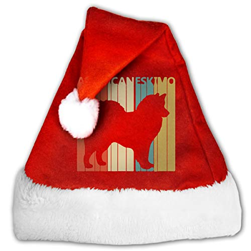 Vintage American Eskimo Dog Christmas Hat, Red&White Xmas Santa Claus' Cap for Holiday Party Hat -