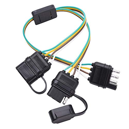SIZZLEAUTO Trailer 2-Way Splitter 4 Pin Y-Split Tow Wiring Harness Adapter LED Tailgate Bar with Dust Caps ()