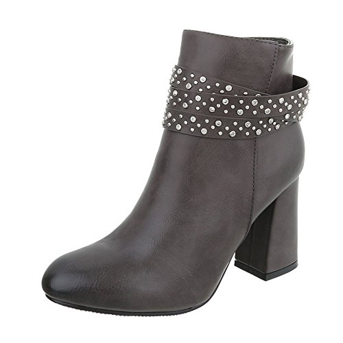 at Ankle Women's Boots Ital Design 0 Heel Boots Kitten Grey Heeled 191 n6BqBpxF