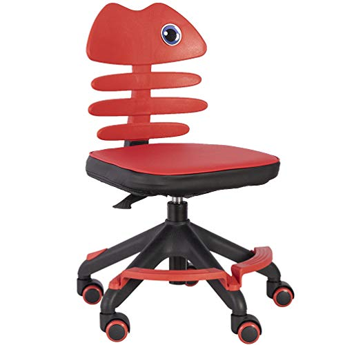 GOLDEN BEACH Kids Desk Chair with Soft Padded Armless Home Office Computer Chair Adjustable Back Height Children Reading Chair Student Task Chair Teens Study Chair with Revolving Wheels Red