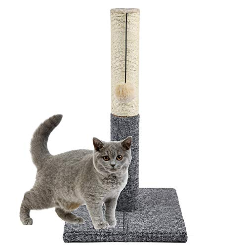 Akarden 20.5'' Tall Cat Scratching Post, Kitty Scratching Post with Hanging Ball, Durable Cat Scratcher Pole with Sisal Rope