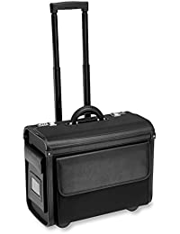 "Nylon Litigation Bag, Rolling Bag, Catalog Case, Briefcase, 18""L x 14""H x 9"" W, Fits Laptop & Legal/Letter Size Files, Retractable Handle, Combination Lock, 1 EA"