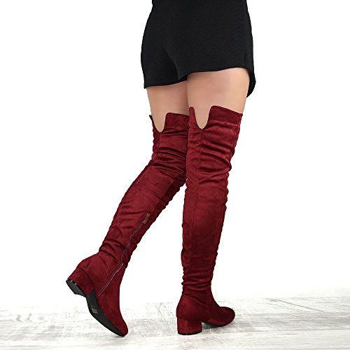 High Ladies Cut Burgundy The Suede ESSEX Heel High Tall Thigh Womens Out Knee GLAM Over Block Boots Low Faux wqqPgx