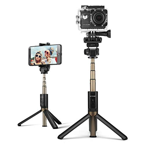 Selfie Stick, BlitzWolf 4 in 1 Mini Extendable Selfie Stick Tripod with Bluetooth Remote for Gopro Camera, iPhone XS MAX/XS/X/8/8 Plus/7 7 Plus/6/6s Plus, Samsung S9/S9 Plus/S8, 3.5-6 inch Smartphones