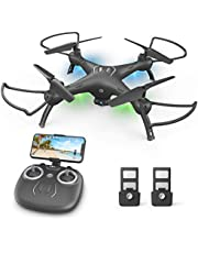 $69 » Drones with Camera for Adults 1080P HD FPV Live Video Wide-Angle WiFi RC Quadcopter with Toss to Launch, Gravity Sensor Altitude Hold, RTF One Key Take Off/Landing, Headless Mode, 3D Flip 2 Batteries