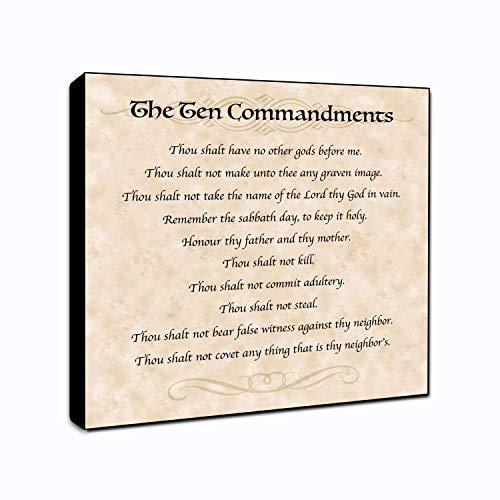 "LACOFFIO The Ten Commandments Wall Art Spiritual Décor Plaque 6"" x 6"" Housewarming Gift Idea"
