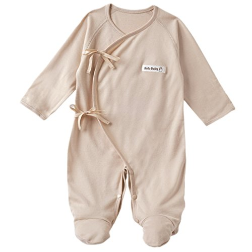 Gloved Sleeve Overall - Happy Cherry Infant Baby Cotton Layette Footie Romper One piece Medium Grey