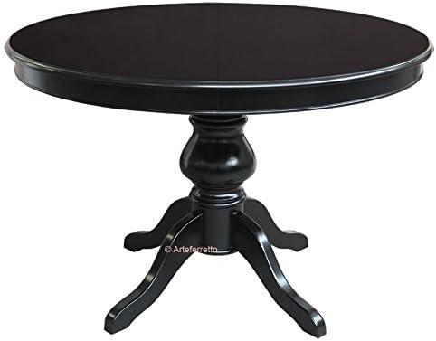 Mesa de comedor, mesa redonda negra, mesa de madera, mesa redonda ...