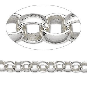 Silver Thick Rolo Chain- Bulk Spool Necklace Jewelry Making- 6mm