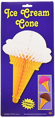 Beistle 55777 Tissue Ice Cream Cones, 151/2-Inch ()