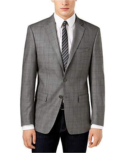 Brown Windowpane Sport Coat - Calvin Klein Men's Slim-Fit Windowpane Sport Coat (Grey/Brown, 40 Regular)