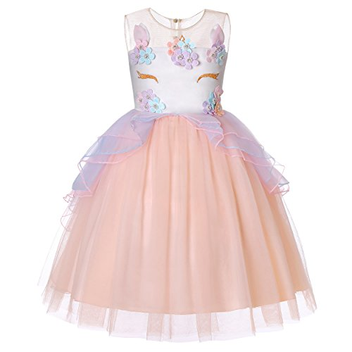 Molliya Unicorn Costume Dress Girl Princess Pageant Party Dresses Flower Evening Gowns Tutu Fancy Dress(Pink, 5T)