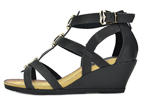 cbaa88e9e95d4 DREAM PAIRS MULAN Womens Gladiator Adjustable Buckles Straps Low Wedge Back  Zipper Summer Sandals BLACK SIZE