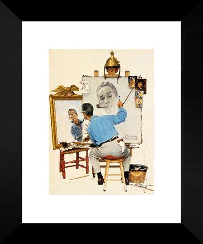 Triple Self Portrait 20x24 Framed Art Print by Norman Rockwell