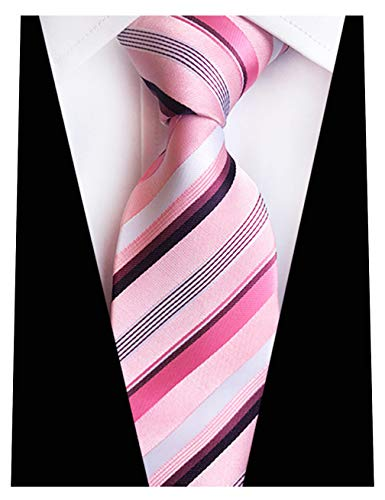 (MENDENG New Mens Stripe Paisley 100% Silk Necktie Classic Striped Formal Ties (One Size, Pink and Purple) )