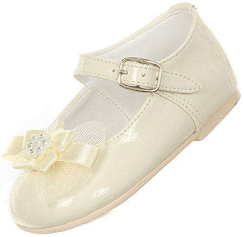 Little Baby Girl Infant Toddler Patent Bow Ankle Strap Buckle Dress Shoes Ivory 5 Infant -