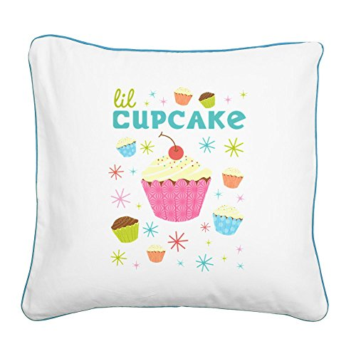 Square Canvas Throw Pillow Caribbean Blue Lil - Cupcake Blue Lil