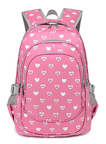 Hearts Print School Backpacks For Girls Kids Elementary School Bags Bookbag (Small- Pink 2) ()