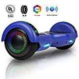 Felimoda 6.5 Inch Self Balancing Hoverboards Scooter Two Wheel Balance Board with LED Light Built-in Wireless Speakers and Carry Bag-UL2272 Certified (Blue)