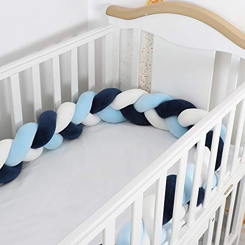 Lion Paw Crib Bed Bumper Pillow Cushion 78.7in Crib Sides Protector Infant Cot Rails Newborn Gift Knotted Braided Plush Nursery Cradle Decor (White-Blue-Dark Blue 78.7in)