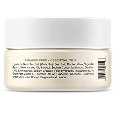 Dead Sea Salt Exfoliating Face & Body Moisturizing Scrub, Ginger and Citrus Essential Oils, Vitamin E for Dry Skin - Leaves Skin Silky Smooth with Lasting Hydration for Men & Women