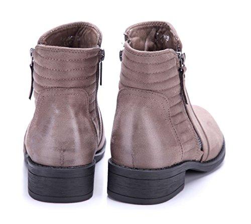 d46fcc9a8a38bb Schuhtempel24 Damen Schuhe Klassische Stiefeletten Stiefel Boots Blockabsatz  Reißverschluss 3 cm Khaki ...