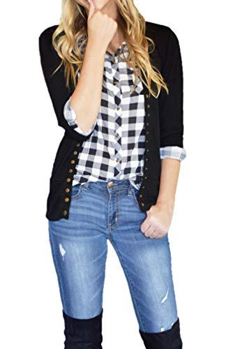 (JNTOP Women's 3/4 Sleeve Snap Button Cardigan Sweater Black X-Large )