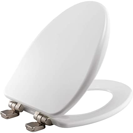 Prime Bemis 19170Nisl 000 Alesio Ii Toilet Seat With Brushed Nickel Hinges Will Slow Close Never Loosen And Provide The Perfect Fit Elongated High Theyellowbook Wood Chair Design Ideas Theyellowbookinfo