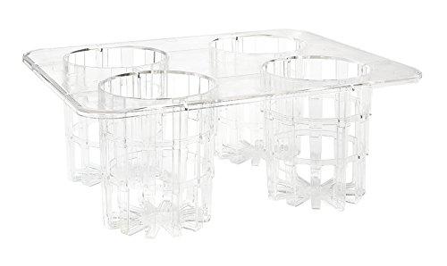 G.E.T. Enterprises Clear Rack with 4 Slots for Salad Dressing Bottles, Break Resistant Dishwasher Safe Polycarbonate Salad Dressing Bottles Collection SDB-32-PC-RACK (Pack of 1)