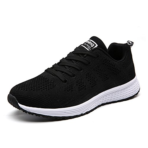 WXDZ Womens Walking Sneakers Sports Tennis Shoes Breathable Athletic Running Shoes Black US7.5=EU38
