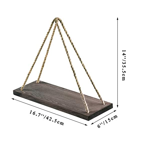 "Oyeye Distressed Wood Hanging Swing Rope Floating Shelves with 4 Stainless Steel Hooks, Set of 2, Brown - 2 Hanging Shelves + 4 Hooks----Our package include 2 Distressed Wood Hanging Swing Rope Floating Shelves and 4 high quality stainless steel hooks, and two of the hooks are spare. High Quality and Elegant----These decorative shelves are appealing and sturdy. Each is made of strong wooden boards (16.7"" x 6"" x 0.79"") featuring a rustic-style torched finish. Multifunction----These decorative shelves can put all sorts of things on display. They are perfect choice for adding additional shelving space for books, collectibles, plants, crafts, photos and more. Simple and elegant! - wall-shelves, living-room-furniture, living-room - 410H3DH4ngL. SS570  -"