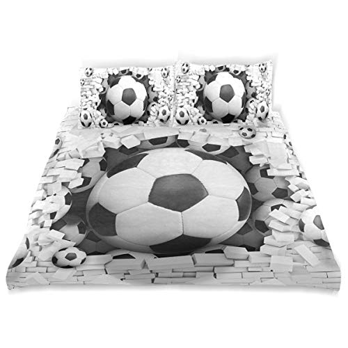 (Football Duvet Cover Set Soft Microfiber Cotton 1 Duvet Cover 2 Pillow Shams 3 Piece Bedding Quilt Sets for Kids Girls Boys Twin (66
